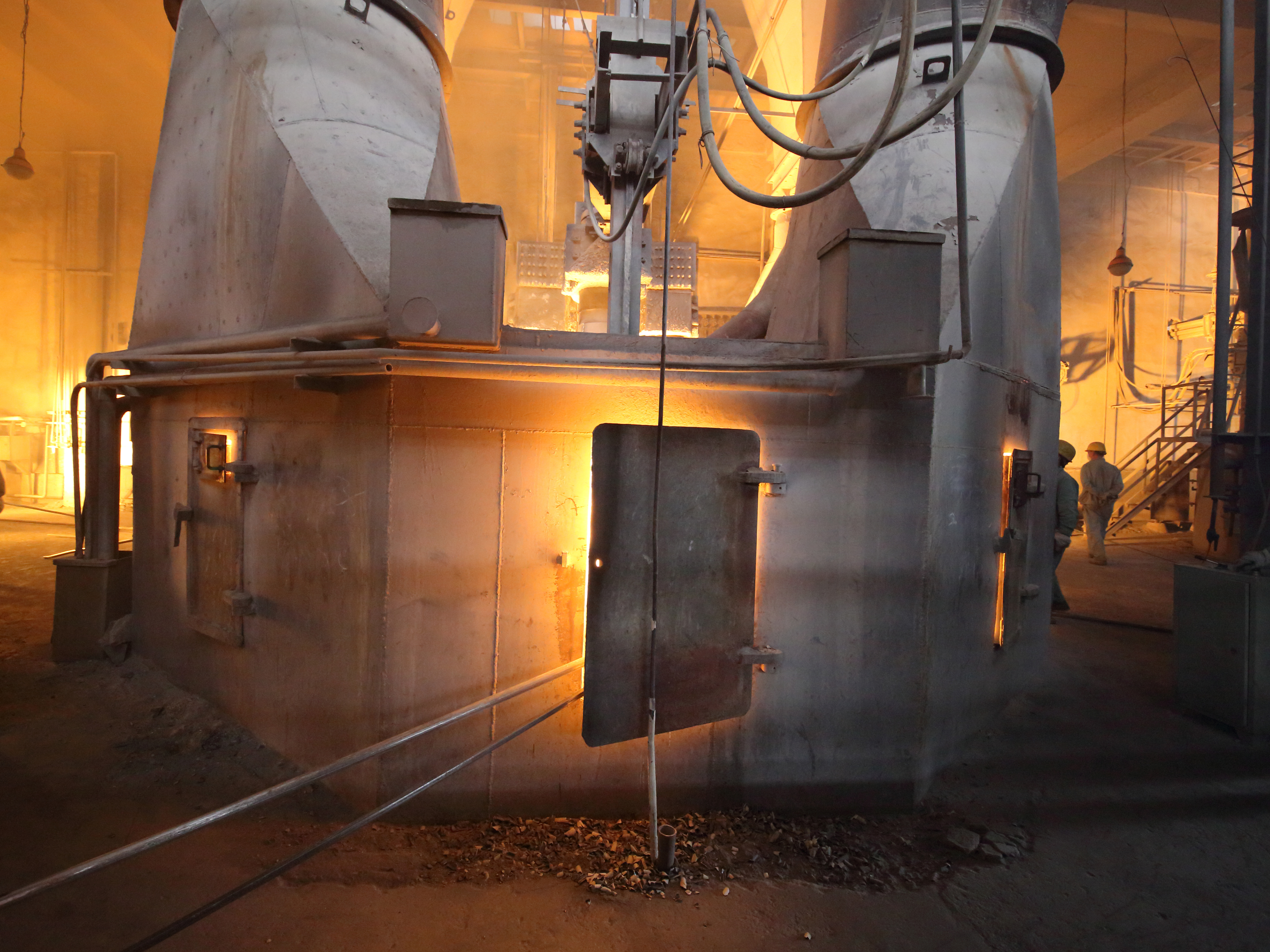 The temperature inside furnace is as high as 1300 deg. C. All raw materials are melted, reacted and form another mineral crystal. This process is called fusing and it always takes some hours.